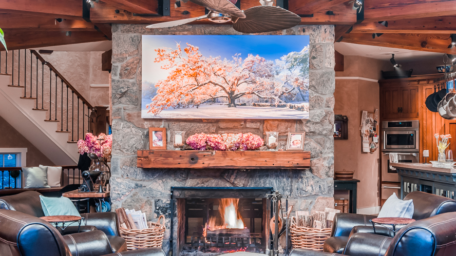 Bedford Oak Canvas Over The Winning Photographer's Fireplace